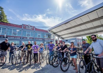 Image of the kickoff of the Fort George employee bike program